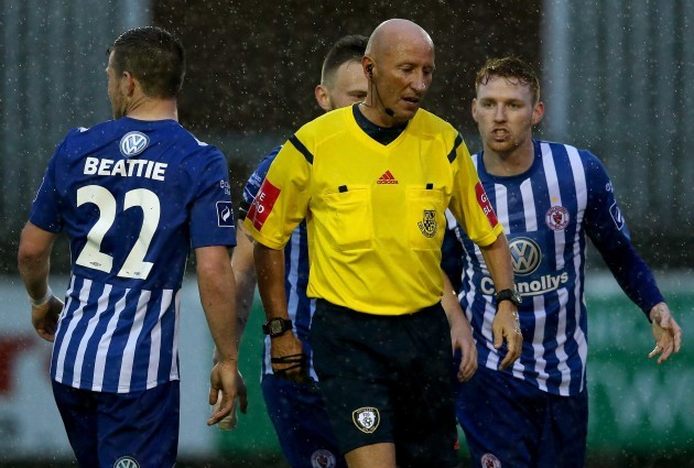 Danny Ledwith argues with referee Paul Tuite