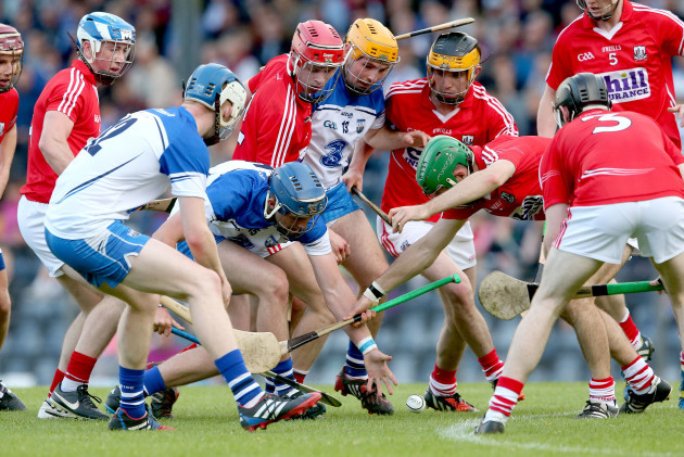D.J. Foran, Patrick Curran and Ryan Donnelly contest a lose ball with Darren Browne, Martin Brennan, Conor Twomey and Alan Denneh