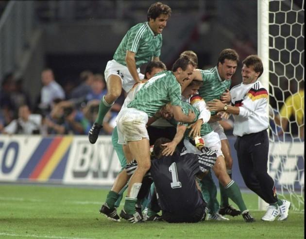 West German players celebrate 4/7/1990