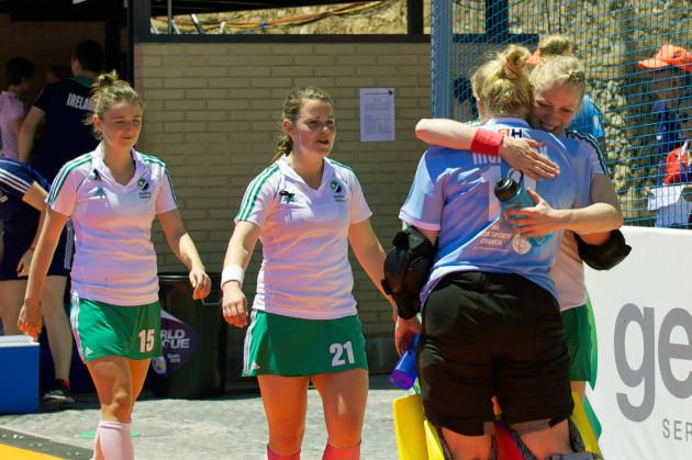 Hannah Matthews and goalkeeper Ayeisha McFerran after the game