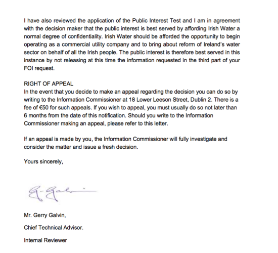 Irish Water FOI appeal 2