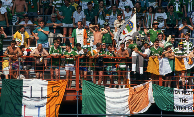 Irish fans look on during the game against Romania 1990