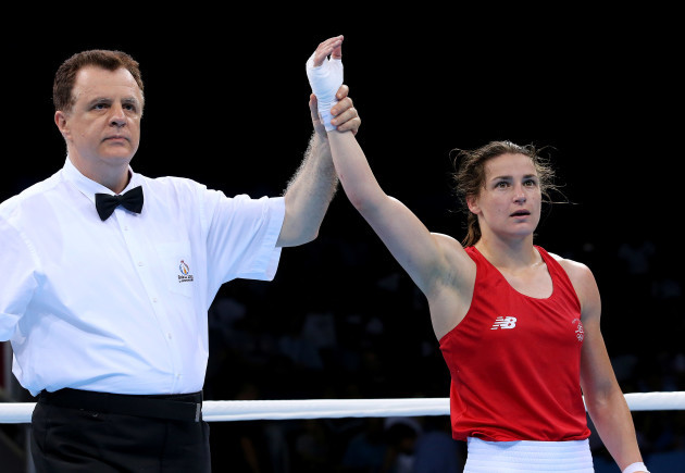 Katie Taylor (Red) is declared the winner