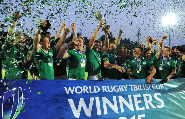 The Emerging Ireland players celebrate with the Tbilisi Cup