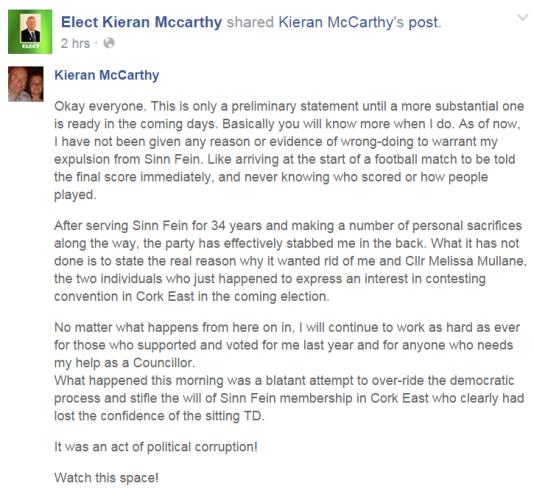 mccarthy statement
