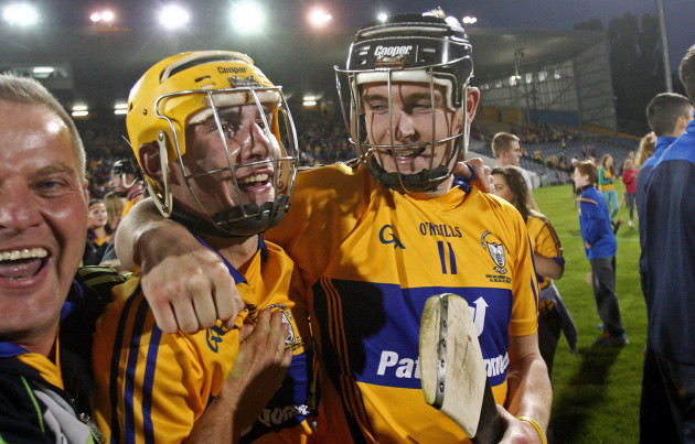Tony Kelly and Colm Galvin celebrate at the end of the game