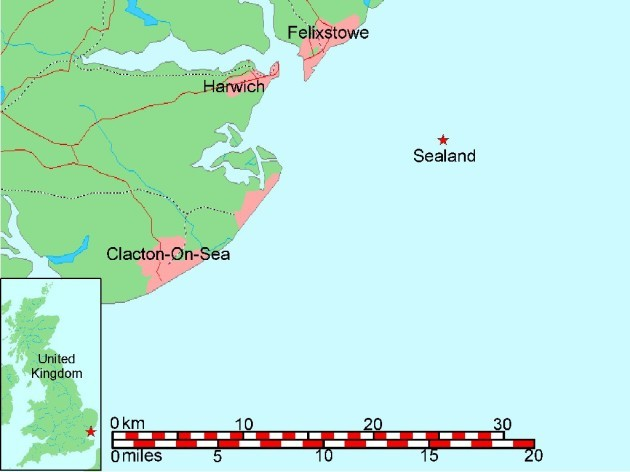 its-off-the-coast-of-essex-located-75-miles-from-great-britain-the-site-was-previously-known-as-hm-fort-roughs-a-military-installation-built-during-the-second-world-war
