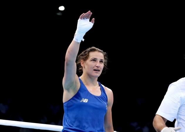 Katie Taylor celebrates after her bout against Ida Lundblad