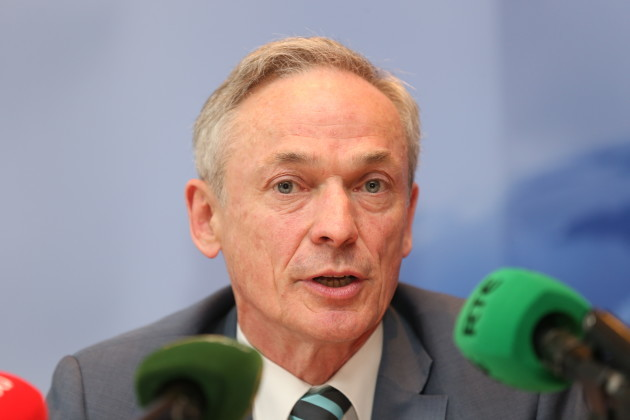 Minister Bruton at the press conferenc