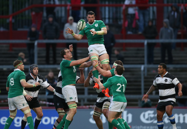 IrelandÕs Ben Marshall wins a lineout
