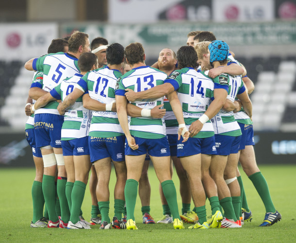 The Treviso team huddle before the game