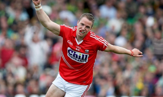 Colm O'Neill celebrates scoring the first goal of the game