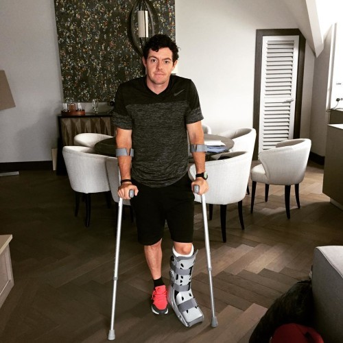 Rory McIlroy on Instagram: Total rupture of left ATFL (ankle ligament) and associated joint capsule damage in a soccer kickabout with friends on Saturday. Continuing...
