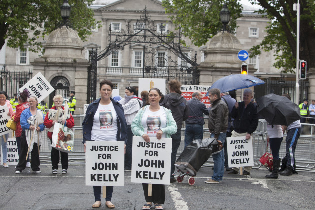 7/7/2015. Dail Protest. A number of people protest