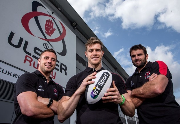 Tommy Bowe, Andrew Trimble and Jared Payne