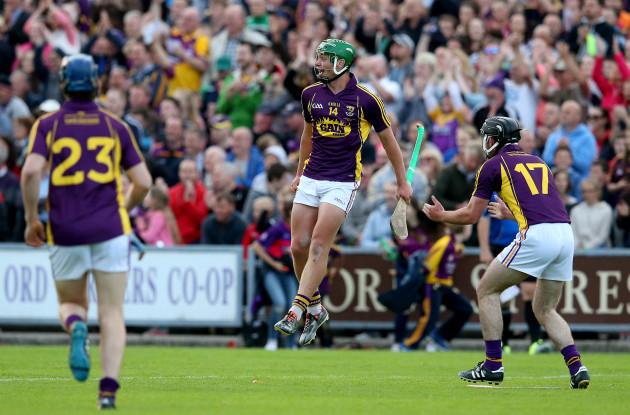 Conor McDonald celebrates at the final whistle