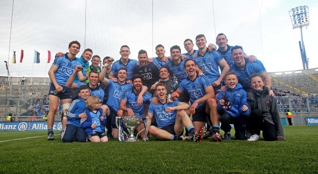 The Dublin team celebrate with the Division one trophy