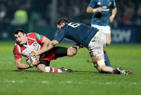 Peter O'Mahony tackles Shane Monahan