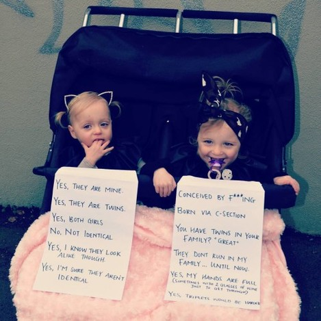 I REALLY wanted to leave these signs on the pram today. As a twin mum, you get asked a series of questions/hear a series of statements EVERYTIME you go out. I know most people are coming from a great place and are just curious however many can be quite intrusive and after a while it's just plain exhausting. And since I was heading into the city, I knew the questions would be coming thick and fast... but I chickened out on the train and took them off! #twinlyfe #twins #twinquestions #doubletrouble #cliches #delphiandcheska #uncannyannie