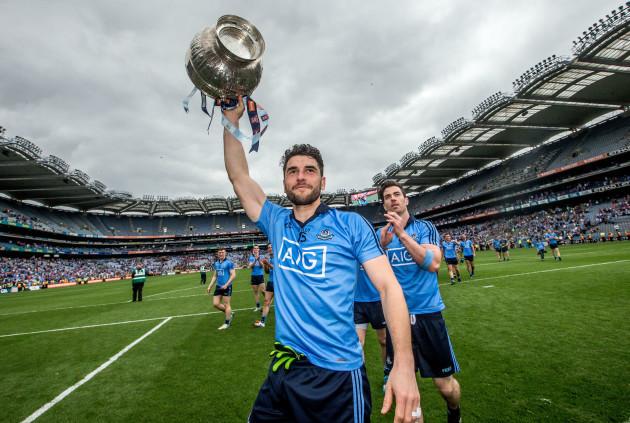Bernard Brogan celebrates with the trophy