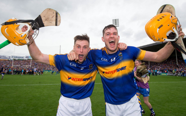 Shane McGrath and Seamus Callaghan celebrate