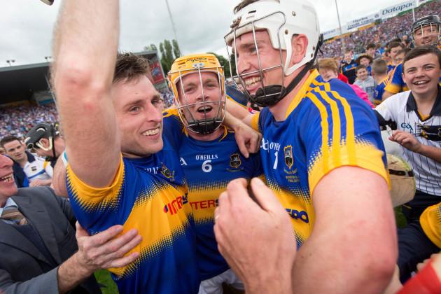 Shane McGrath, Padraic Maher and Brendan Maher celebrate