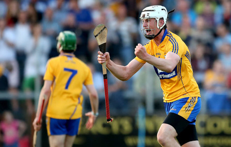 Conor Cleary celebrates at the final whistle