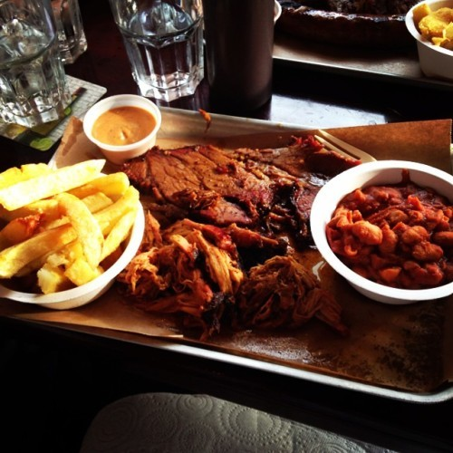 Bison with the lads #brisket #pulledpork #burntendbeans #texas #bbq