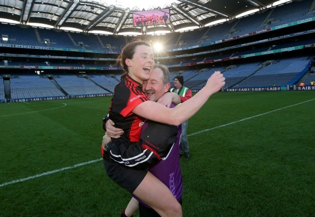 Mary Leacy celebrates after the game