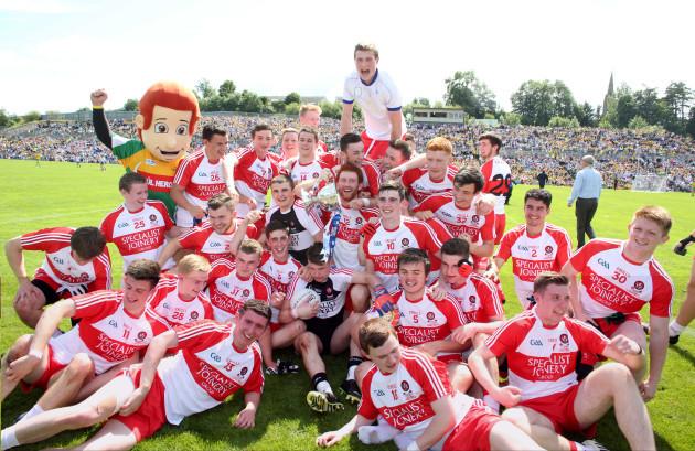 Derry players celebrate winning