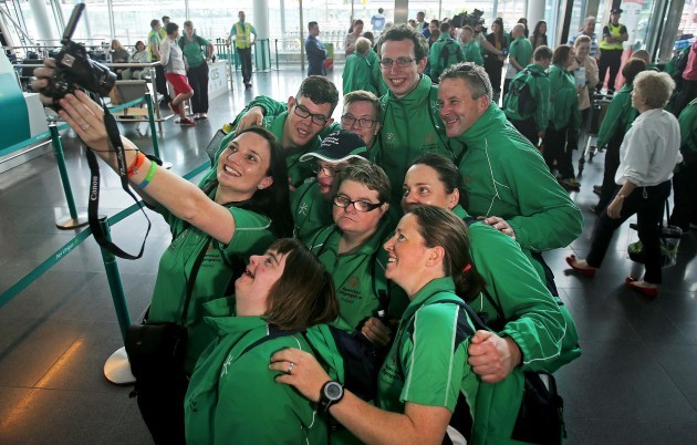 Team Ireland athletes and coaches pose for a selfie