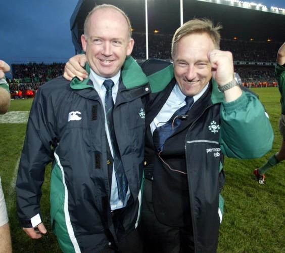 Declan Kidney and Eddie O'Sullivan after beating Australia