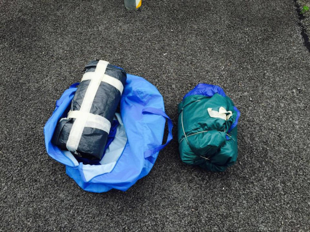 Blue bag with sleeping bags