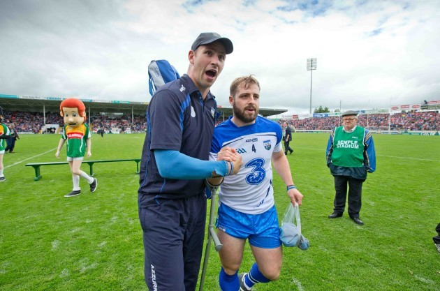 Dan Shanahan celebrates with Noel Connors after the game