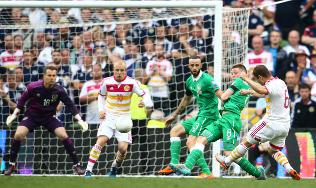 Shaun Maloney scores a goal after it was deflected in off Steven Fletcher