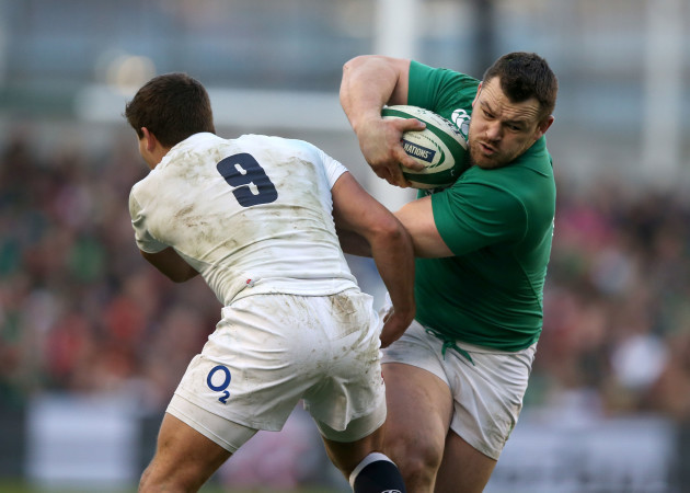 Cian Healy tackled by Ben Youngs