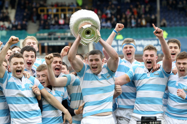 Nick Timoney lifts the Leinster Schools Senior Cup
