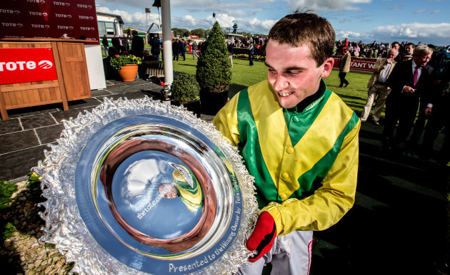 Jonathan Burke celebrates after winning the Galway Plate on board Shanahan's Turn