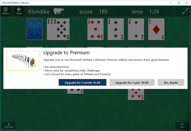 Windows 10 solitare
