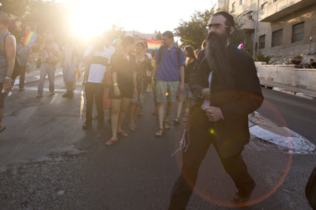 Mideast Israel Gay Parade Attacking