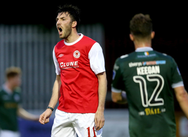 Killian Brennan reacts to a missed chance