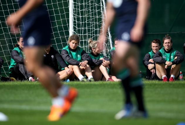 Members of the Ireland Women's 7's team watch training today