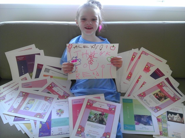 Alexis received 136 cards from Redditors wishing her well today! She just wanted to say thanks!
