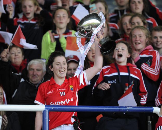 Ciara OÕSullivan lifts the cup