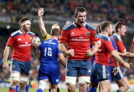 Peter O'Mahony celebrates at the end of the match