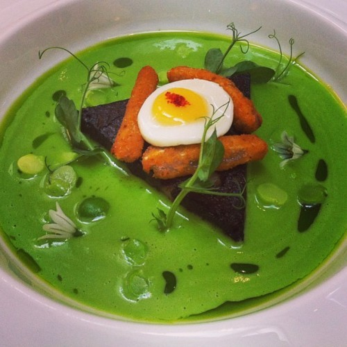 Pea and black pudding
