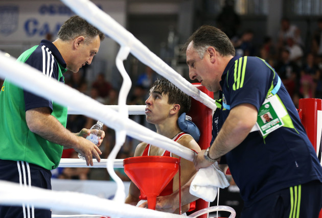 Michael Conlan with coaches Billy Walsh and Zaur Antia