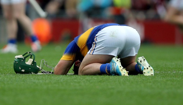 Cathal Barrett dejected at the final whistle