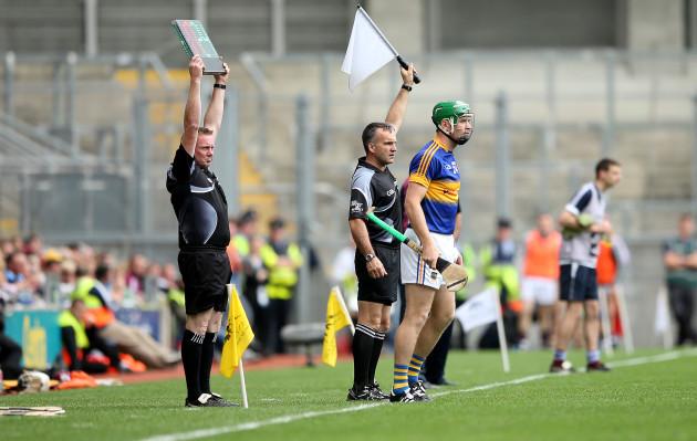 Noel McGrath introduced as a second half sub