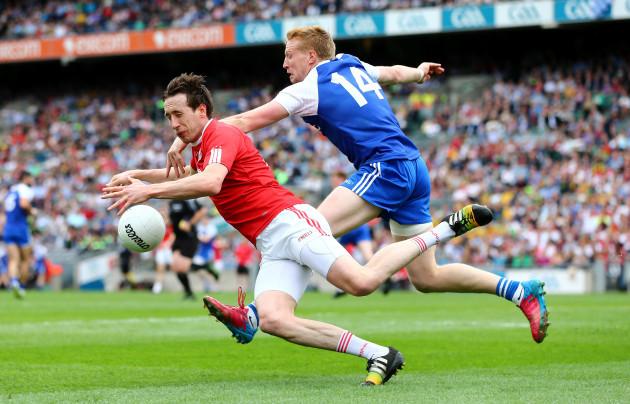 Kieran Hughes tackles Colm Cavanagh